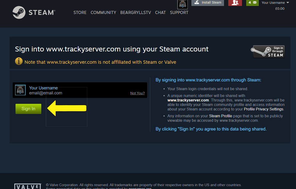 trackyservers steam sign in